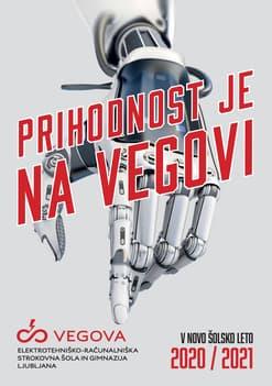 """robotska roka preko katere je izpisano """"prihodnost je na vegovi"""""""